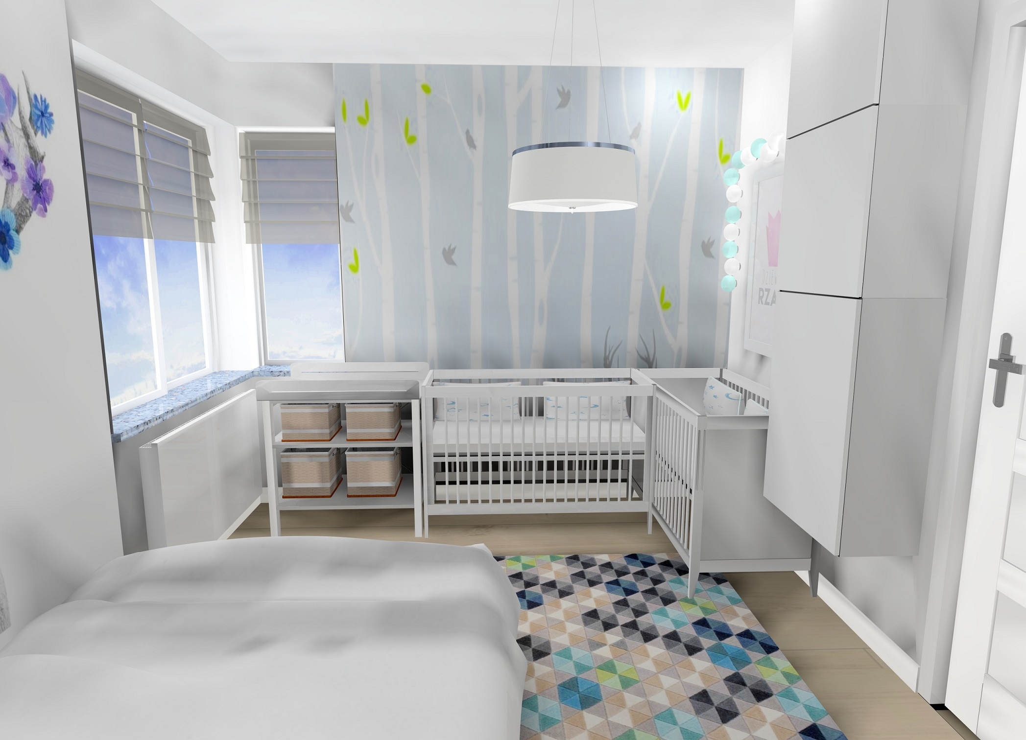 Sypialnia z łóżeczkami bliźniaczek