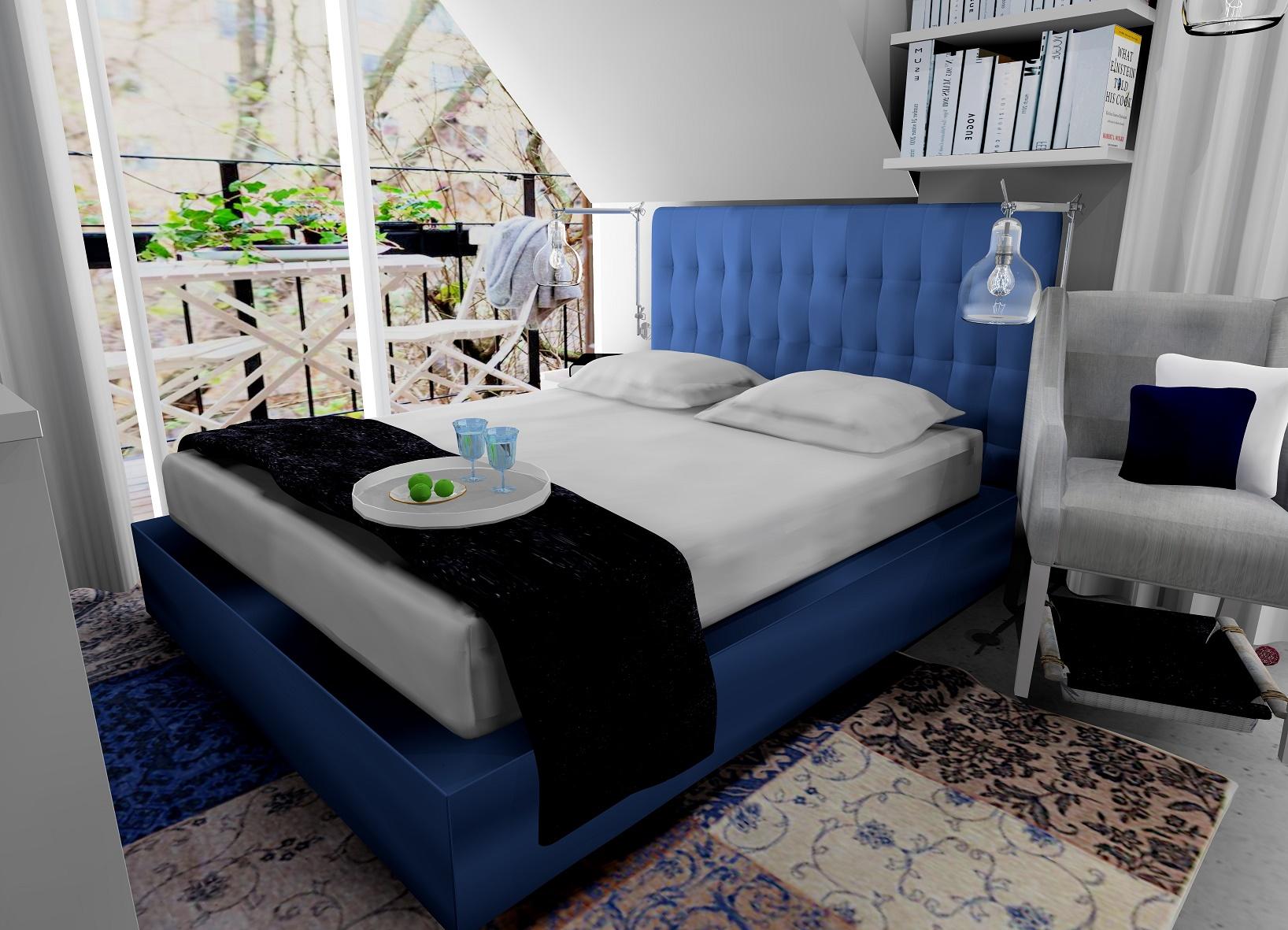 Sypialnia z niebieskim akcentem