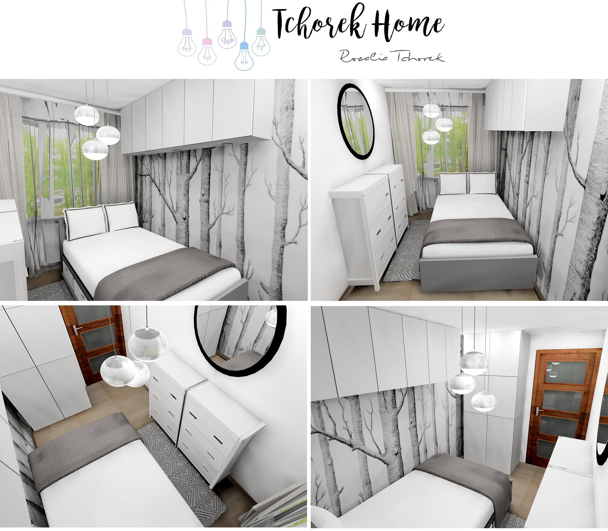 Ciepła szara sypialnia