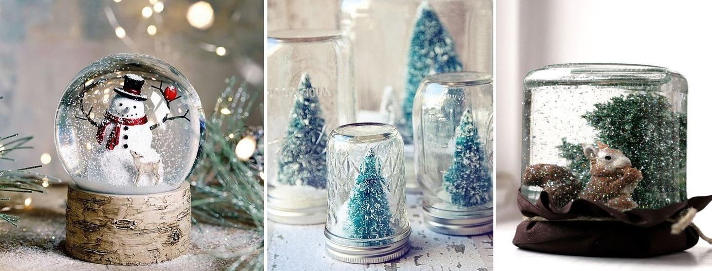 domowe świąteczne dekoracje - śnieżna kula